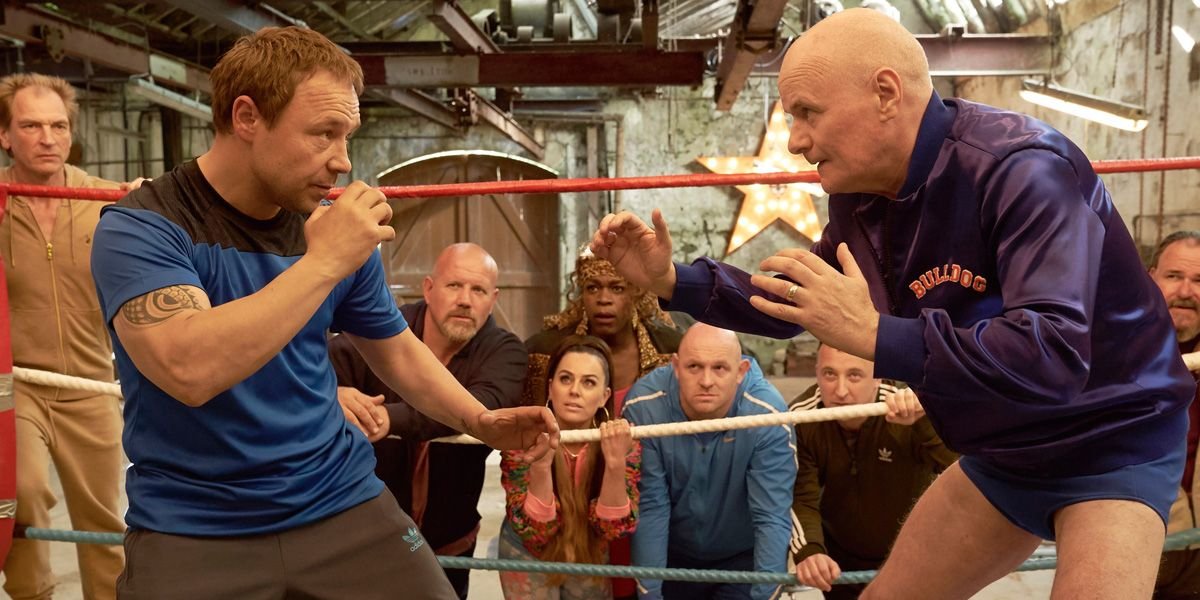 Dave Johns and Stephen Graham prepare to tussle in Walk Like a Panther.