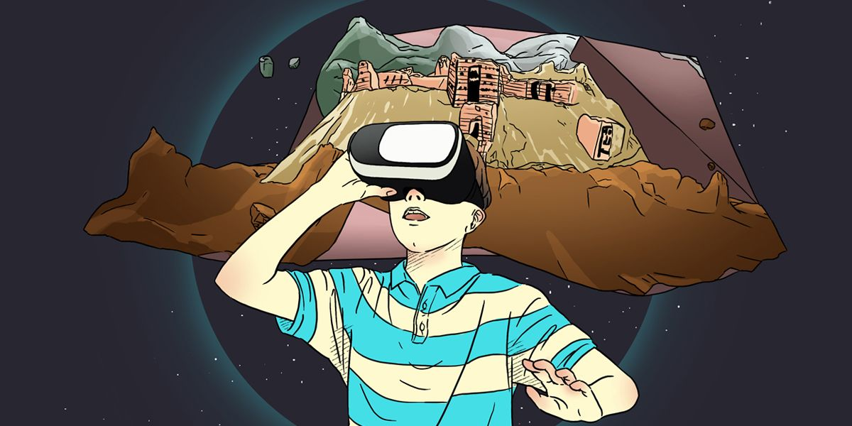 Future Aleppo - illustration of a boy using a virtual reality headset